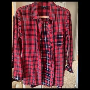 Madewell plaid red and black button down